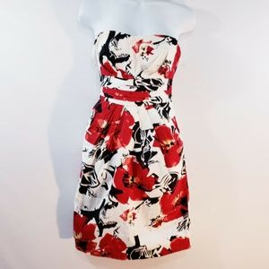 Snap Womens Strapless Sheath Floral Padded Top Sun